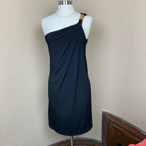 Michael Kors Sz 10 Black One Shoulder Sheath Dress